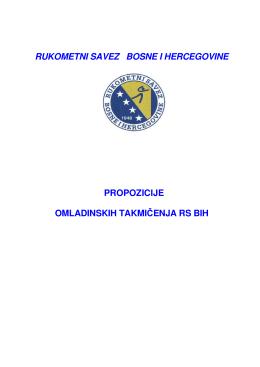 rukometni savez bosne i hercegovine propozicije omladinskih