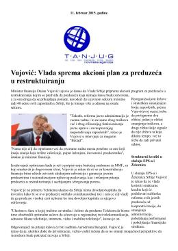 Vujović: Vlada sprema akcioni plan za preduzeća u restruktuiranju