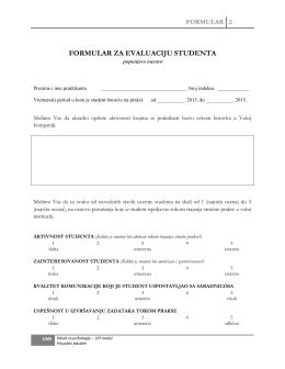 Formular 2 - Odsek za psihologiju