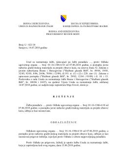U - 821/10 Sarajevo, 14.07.2010 godine Ured za razmatranje žalbi