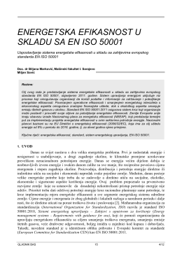 ENERGETSKA EFIKASNOST U SKLADU SA EN ISO 50001