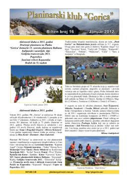 bilten-16 - Planinarski Klub GORICA – Podgorica