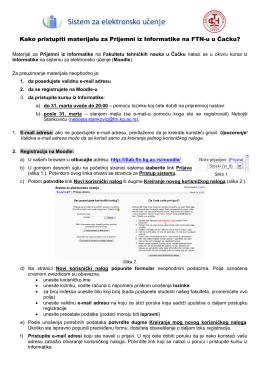 Uputstvo za učenike koji pohađaju pripremnu nastavi iz Informatike