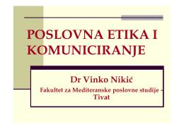 POSLOVNA ETIKA - Fakultet za Mediteranske poslovne studije u Tivtu