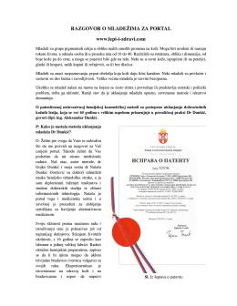 RAZGOVOR O MLADEŽIMA ZA PORTAL www.lepi-i