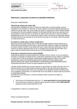 Vakcinacii i preporaki od strana na skolskiot doktor/ka