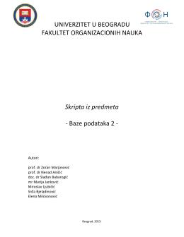 Baze podataka 2 - Projektovanje informacionih sistema i Baze