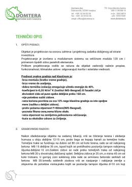 Tehnički opis - Domtera - Montazne kuce Ivanjica