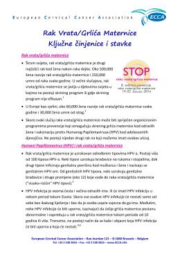 Rak Vrata/Grlića Maternice Ključne činjenice i stavke