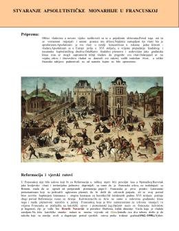 stvaranje apsolutističke monarhije u francuskoj