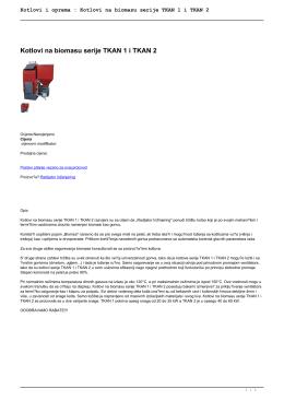 Kotlovi i oprema : Kotlovi na biomasu serije TKAN 1 i TKAN 2