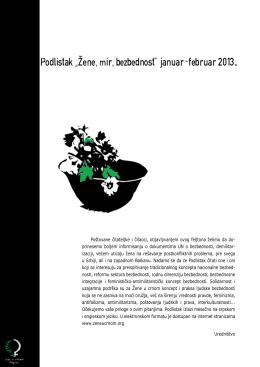 """Podlistak """"Zene,mir,bezbednost"""" januar-februar 2013."""