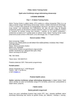IT4biz- Admin Training Centar Opšti uslovi korišćenja - ATC-u