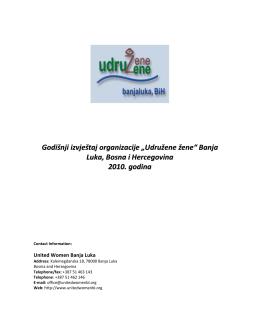 2010 Godišnji izvještaj Udružene žene Banja Luka