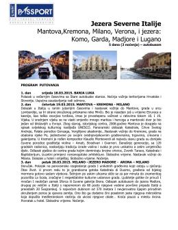 Jezera Severne Italije Mantova,Kremona, Milano