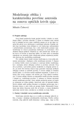 Modeliranje oblika i karakteristika povr{ine asteroida na osnovu opti