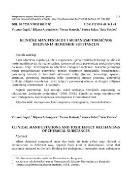 kliničke manifestacije i mehanizmi toksičnog delovanja hemijskih