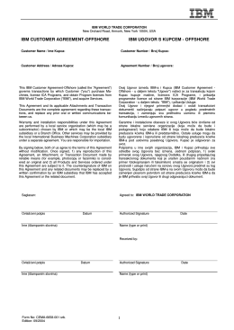 ibm customer agreement-offshore ibm ugovor s kupcem