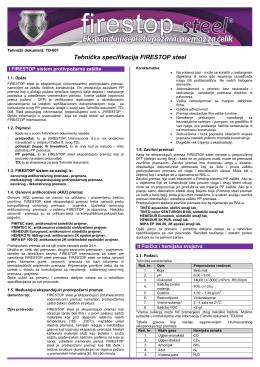 1 – Firestop steel Tehnička specifikacija