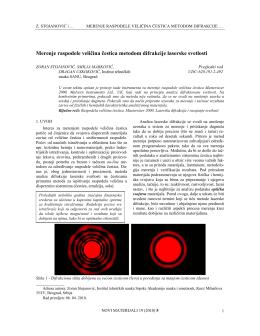 Merenje raspodele veličina čestica metodom difrakcije laserske