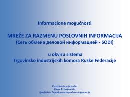 """Prezentacija """"Informacione mogućnosti SODI u okviru"""