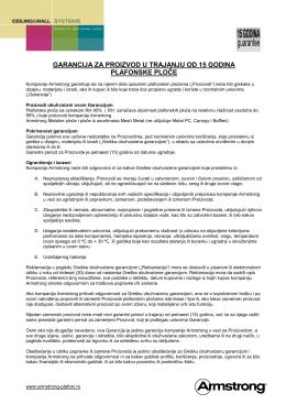 garancija za proizvod u trajanju od 15 godina plafonske