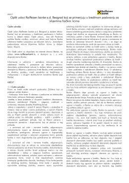 Opšti uslovi Raiffeisen banke a.d. Beograd koji se primenjuju u
