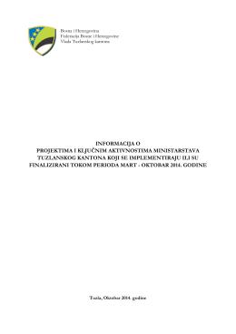 informacija o projektima i ključnim aktivnostima ministarstava