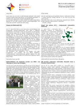 Newsletter - Deutsche Schule Belgrad