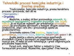 Tehnološki procesi hemijske industrije i životna sredina