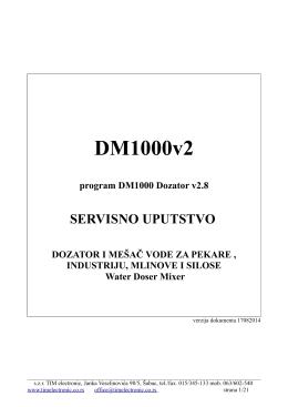 Servisno uputstvo dozatora vode za pekare DM1000 v2