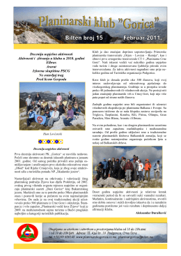 bilten-15 - Planinarski Klub GORICA – Podgorica