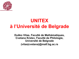 UNITEX à l`Université de Belgrade