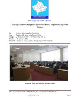 Asocijacija Kosovskih Opština Izveštaj sa sastanka Kolegijuma