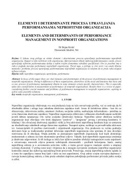 elementi i determinante procesa upravljanja performansama