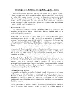 Izvještaj o radu Kabineta predsjednika Opštine Budva