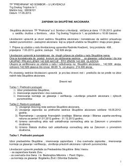 Zapisnik sa Skupštine akcionara od 17. maja 2013.