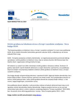 Učešće građana na lokalnom nivou u Evropi i susednim zemljama