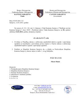 Prijedlog Zakona - Skupština Kantona Sarajevo
