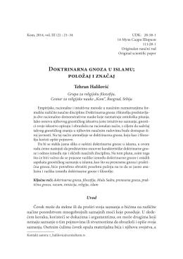 """Doktrinarna gnoza u islamu - Centar za religijske nauke """"Kom"""""""