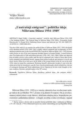 """Unutrašnji emigrant"": političke ideje Milovana Đilasa 1954–1989"
