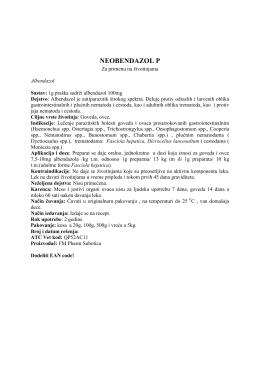 NEOBENDAZOL P - Krajina lijek