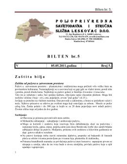 B I L T E N   br. 5 - Poljoprivredna Savetodavna i Stručna Služba Srbije