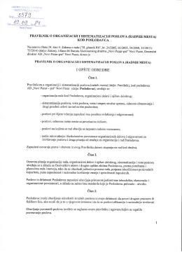 Pravilnik o organizaciji i sistematizaciji poslova kod
