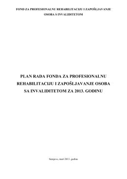 Plan rada Fonda za 2013. godinu