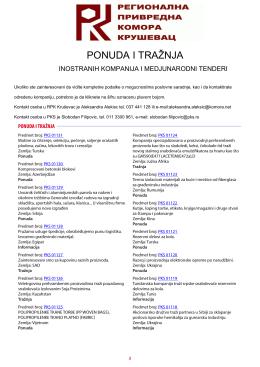 Ponuda i tražnja inostranih kompanija i medjunarodni tenderi, maj