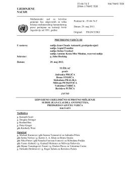 UJEDINJENE NACIJE - ICTY Court Records