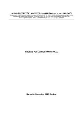 "kodeks poslovnog ponašanja - JP "" Vodovod i kanalizacija"" doo"
