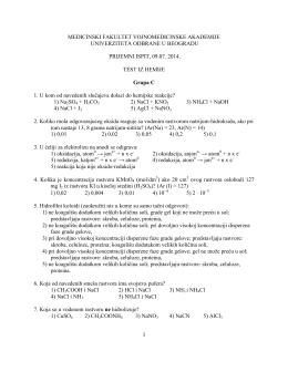 Тест питања из хемије група Ц, 2014. година