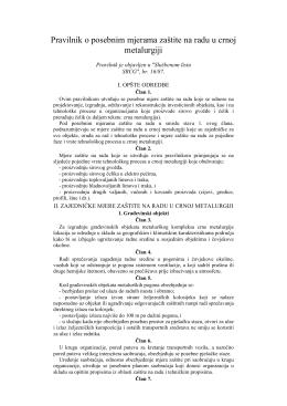Pravilnik o znr u crnoj metalurgiji